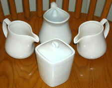 SIMPLE DINING All White Tea & Coffee Serving Set - Classic Modern Elegant China