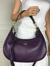 NWT COACH SEXY PURPLE PEBBLED LEATHER SHOULDER CROSSBODY HOBO BAG PURSE HANDBAG