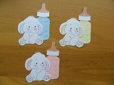 Luxury Cute Lellii Elephant & Baby Bottle ready made card toppers