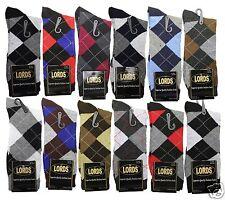 New 12 Pairs 1 Dozen LORDS Mens Argyle Dress Socks Cotton Multi Color Size 10-13