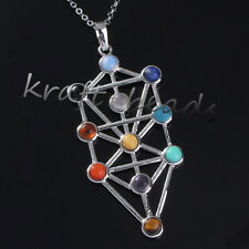 1x Natural Gemstone kabbalah Tree Of Life Hearing Point Chakra Pendant Necklace