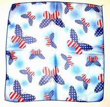 "SCARF Small 21"" Square Polyester Baby Blue Red Blue White AMERICAN BUTTERFLIES"