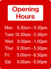 Opening Hours Sign - Opening Times Shop Office Business 40cm x30cm Rigid Plastic