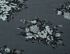 Gray Black Flower Print Cotton Spandex French Terry Knit Fabric by Yard 5/16
