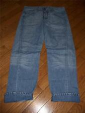MENS LEVI BUTTON FLY JEANS WITH CUFF MEASURE 36 WAIST 32 LENGTH