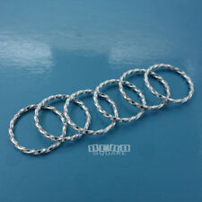 6 PC Solid Sterling Silver Twist Closed Ring Rope Connector 15mm #33460