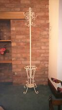 Antique White Metal Shabby Chic Coat Stand Includes Umbrella Walking Cane Rest