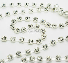 Rhinestone Chain Crystal Glass Gem Silver/Gold Cup Trim Ribbon Sparkle Diamante