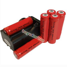 6x 18650 4.2V Li-ion 6000mAh Red Rechargeable Battery+ GTL Charger USA