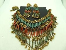 Vintage 1940's Egyptian Revival Authentic Coral Faience Bib Necklace Earring Set