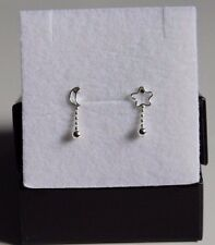 New 925 Sterling Silver Open Star and Moon Beads Dangle Stud Earrings