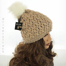 APT. 9 Frosted Oatmeal BEIGE BEANIE HAT Faux Fur WHITE POM Textured WINTER CAP