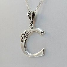 Celtic Initial Letter C Necklace - 925 Sterling Silver - Celtic Knot Initial NEW