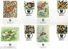 Mexico 1988 WWF Monarch Butterfly Wildlife Insect Fauna Sc 1559-62 Set of 4 FDCs