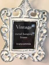 Vintage Metal Grey / White Mini Hanging Photo Picture Frame on Soft Grey Ribbon