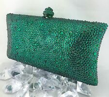 Luxury Pillow Evening Purse With Emerald Green Swarovski Crystal Party Clutch