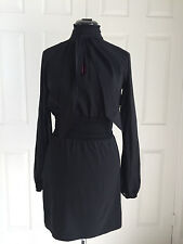 Guess by Marciano Black Silk Stretch Key Hole Front Tie Neck LS Dress Sz S NWT