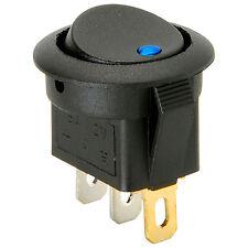SPST Automotive Round Rocker Switch w/Blue LED 12V 060-770