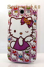 for Samsung Galaxy S3 purple white flower bow case hello kitty kitten cool i9300