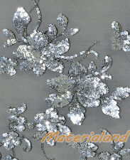By Meter Silver on Black Flower Sequined & Embroidered Mesh Lace Wedding Fabric