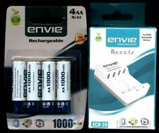 Combo Of 4 pcs ENVIE 1000mAh Rechargeable AA Battery Cell + Cell Charger= AA/AAA
