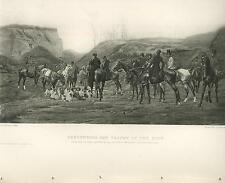 ANTIQUE HORSES EQUESTRIAN HUNTING DOGS DEER STAG TROPHY OF THE FOOT OLD PRINT