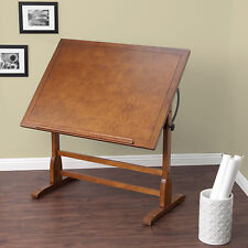 Vintage Drafting Table Architect Drawing Adjustable Rustic Oak Wood 42 Inch NEW