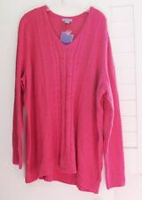 Laura Scott Womens Plus V Neck Cable Pullover Sweater Pink Sz 1X - NWT