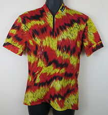 FESPO Vtg Cycling Retro Jersey Shirt Vintage Red Yellow Trikot Maillot L Large