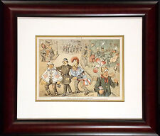 Puck Magazine Charity and Economy Combined Original Vintage Illustration, Framed