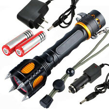 5000LM Tactical T6 LED Four Attack Heads + Audible Alarm Flashlight Torch Lamp