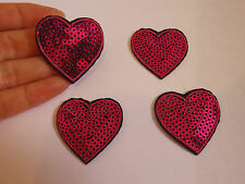 2 small pink love heart applique sequin motif patch badge sew iron on hotfix uk