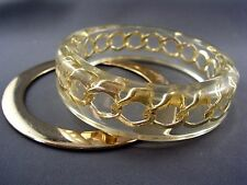 Clear Lucite Cuff Bangle with Encased XL Gold Chain RUNWAY MODE c.1980 Vintage