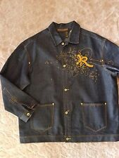 ROCAWEAR Denim Jacket Mens Size 3XL Blue Jean Trucker Hip Hop