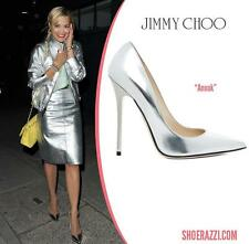 $675 Auth JIMMY CHOO Metallic Silver ANOUK Size 39 Stiletto Pumps Shoes Heels