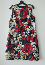 Dolce & Gabbana Brocade  Poppy & Daisy Sheath Dress Red/Black/White Size 46/12