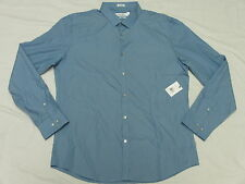 $79 NWT Mens Calvin Klein Slim Fit Dash Stripe Button Down Shirt Blue Sz L L835