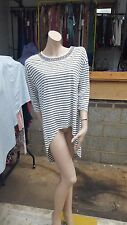BNWT Atmosphere Dress/Tunic Grey Striped Beaded Sequined Neckline Size 12