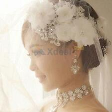 Adjustable Pearl Lace Flower Bridal Head Band Headpiece Weddings Proms Pageant