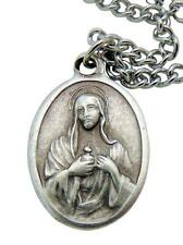 "Immaculate Heart of Mary Medal 3/4"" w/ Stainless Steel Chain from Italy"