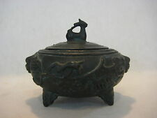 "RARE ANTIQUE CHINESE HEAVY BRONZE INCENSE BURNER BOX WITH LID, 5"" WIDEST X 4"" T"
