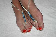 SALE!! BLUE & TURQUOISE Foot Thongs Barefoot Beach Sandals & FREE Thumb Ring
