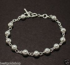 6mm All Shiny Round Bead Ball Rosary Cross Bracelet Genuine 925 Sterling Silver