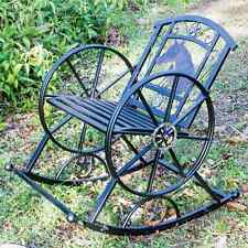 ROCKING CHAIR HORSE / WAGON WHEEL THEME - STEEL COUNTRY RUSTIC OUTDOOR FURNITURE