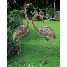 Garden Crane Pair Statues Heron Bird Sculpture Outdoor Metal Yard Art Lawn Decor