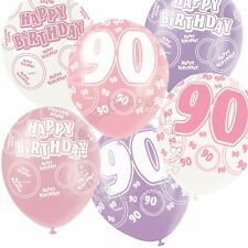 12 Happy 90th Birthday Pink,Lilac,White Helium Balloons,Party,Venue Decorations