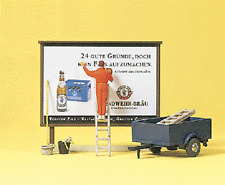 HO Preiser 10526 Outdoor Sign / Billboard Worker with Trailer FIGURES