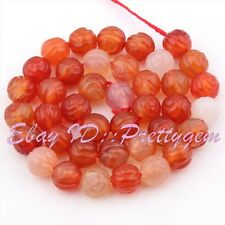 """10mm Natural Round Carved Rose Multicolor Carnelian Gemstone Spacer Beads 15"""""""