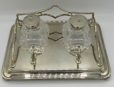 "Antique silver plate desk set cut crystal inkwells Watson & Gillott UK 7""x9"""