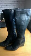 Clarks black leather wedge heel knee high boots size 5.5 [4107]